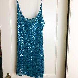 NORDSTROM Sparkly Sequined Teal Blue Long Tank Top